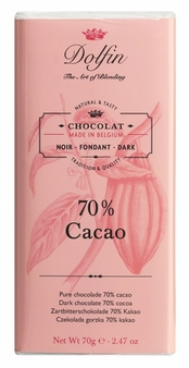 "Dolfin Belgian Chocolate - ""70% Cacao"" Dark Chocolate Bar, 70g/2.47oz. (Single)"