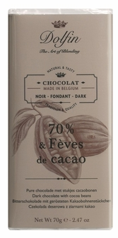 "Dolfin Belgian Chocolate - ""70% & Fèves de cacao"" Dark Chocolate Bar with Cocoa Beans, 70g/2.47oz. (Single)"