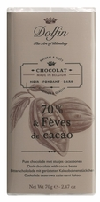 "Dolfin Belgian Chocolate - ""70% & F�ves de cacao"" Dark Chocolate Bar with Cocoa Beans, 70g/2.47oz. (Single)"