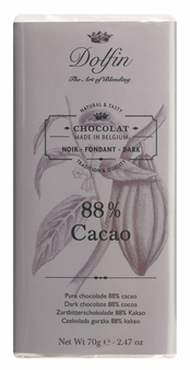 "Dolfin Belgian Chocolate - ""88% cacao"" Extra Dark Chocolate Bar, 70g/2.47oz. (Pack of 15)"
