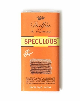 "Dolfin Belgian Chocolate - ""SPECULOOS"" Milk Chocolate Bar with Speculoos, 70g/2.47oz. (Pack of 15)"