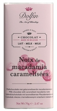 "Dolfin Belgian Chocolate - ""Noix de macadamia caramelis�es"" Milk Chocolate with Caramelized Macadamia Nuts 70g/2.47oz (Single)"