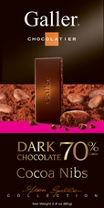 Galler Belgian Chocolate - Dark Chocolate 70% Cocoa Nibs, 80g/2.8oz  (Single)