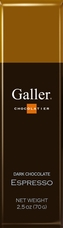 Galler Belgian Chocolate - Dark Chocolate Expresso Naturally Flavored Cocoa, 70g/2.5oz (Single)