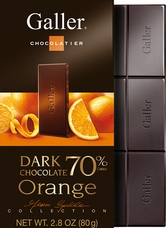 Galler Belgian Chocolate - Dark Chocolate Orange Bar 70% Cocoa, 80g/2.8oz (Single)