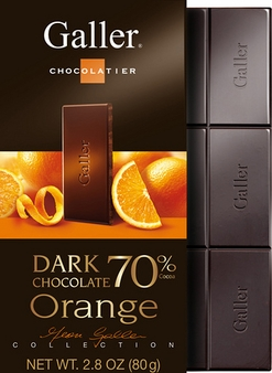 Galler Belgian Chocolate - Dark Chocolate Orange Bar 70% Cocoa, 80g/2.8oz (5 Pack)