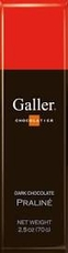 Galler Belgian Chocolate - Dark Chocolate Praline Naturally Flavored Cocoa, 70g/2.5oz (Single)
