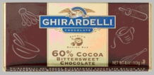 "Ghirardelli Chocolate - ""Bittersweet Chocolate"" Premium Baking Bar, 60% Cocoa, 113g/4oz.  (6 Pack)"