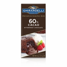 "Ghirardelli Chocolate - ""Bittersweet Chocolate"" Premium Baking Bar, 60% Cocoa, 113g/4oz. (Single)"