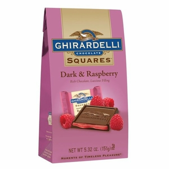 Ghirardelli Chocolate - Dark Chocolate Squares with Raspberry Filling, 5.32oz/151g. (Single)