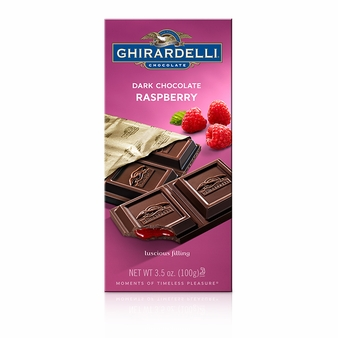 Ghirardelli Chocolate - Dark Chocolate with Raspberry Filling Premier Bar, 100g/3.5oz (6 Pack).