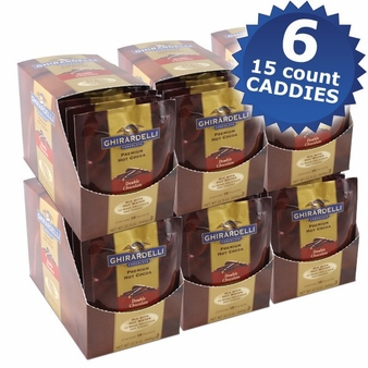 """Ghirardelli Chocolate - """"Double Chocolate"""" Hot Chocolate Packets, 6 - 15 count Box. (6 Pack)"""