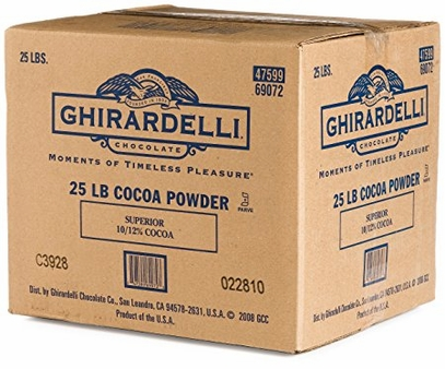 "Ghirardelli Chocolate - Dutch Process Cocoa Powder, ""Superior"" 10-12% Fat, Med. Dark Color, 25 Lb. Case (Single)"