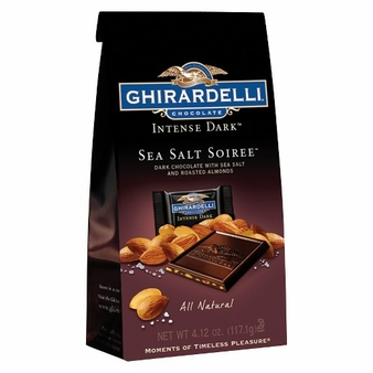 Ghirardelli Chocolate - Ghirardelli Chocolate Intense Dark Sea Salt Soiree Dark Chocolate with Sea Salt and Roasted Almonds Squares 4.12 oz Bag (Single)