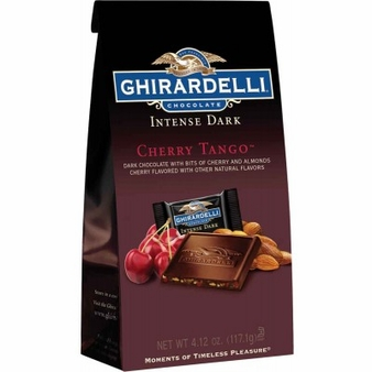 Ghirardelli Chocolate - Ghirardelli Chocolate Squares Intense Dark Cherry Tango Dark Chocolate With Bits of Cherry and Almonds, 4.12 oz Bag (Single)
