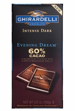 """Ghirardelli Chocolate - Intense Dark Chocolate with a hint of Madagascan Vanilla, """"Evening Dream"""", 60% Cocoa, 100g/3.5oz. (6 Pack)"""
