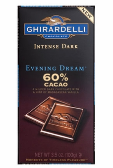 "Ghirardelli Chocolate - Intense Dark Chocolate with a hint of Madagascan Vanilla, ""Evening Dream"", 60% Cocoa, 100g/3.5oz. (6 Pack)"