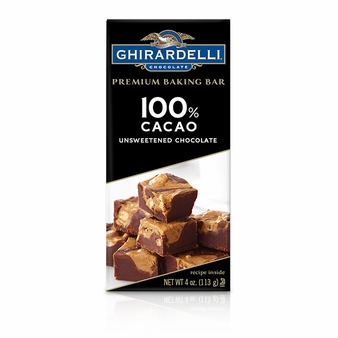 "Ghirardelli Chocolate - ""Unsweetened Chocolate"" Premium Baking Bar, 100% Cocoa, 113g/4oz. (Single)"