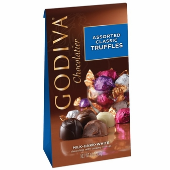"Godiva Chocolate - 12 pc. Godiva ""Assorted Classic Truffles"" Milk, Dark and White, 4.25oz./120g  (Single)"