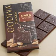 Godiva Chocolate - Dark Chocolate with Almonds, 72% Cocoa, 100g/3.5oz. (10 Pack)
