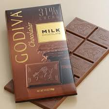 "Godiva Chocolate -  ""Milk Chocolate Bar"", 31% Cocoa, 100g/3.5oz. (10 Pack)"