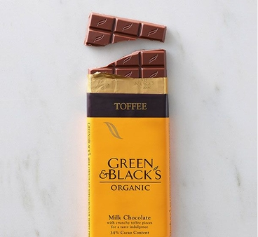 Green & Black's Organic Chocolate - 34% Milk Chocolate with Toffee Pieces 100g/3.5oz (Pack of 5)