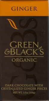 """Green & Black's Organic Chocolate - Dark Chocolate with Crystallized """"Ginger"""" Pieces, 60% cocoa, 100g/3.5oz (Single)"""