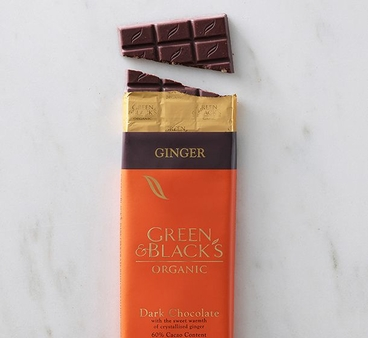 "Green & Black's Organic Chocolate - Dark Chocolate with Crystallized ""Ginger"" Pieces, 60% cocoa, 100g/3.5oz(10 Pack)"