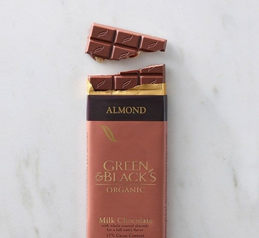 Green & Black's Organic Chocolate - Milk Chocolate w/ Almonds Bar, 100g/3.5oz (10 Pack).
