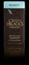 """Green & Black's Organic Chocolate - """"Milk Chocolate with Caramelized Peanuts"""", 37% Cocoa, 100g/3.5oz. (5 Pack)"""