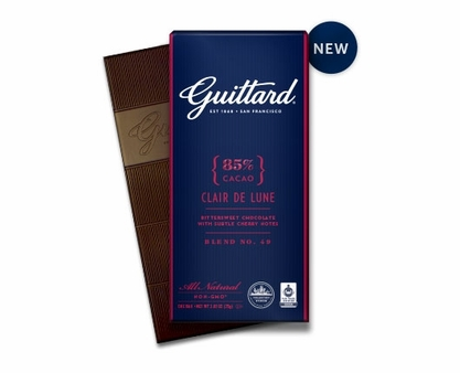 """GUITTARD 85% COCOA """"CLAIR DE LUNE"""" BITTERSWEET CHOCOLATE BAR 2.65oz (Pack of 5)"""