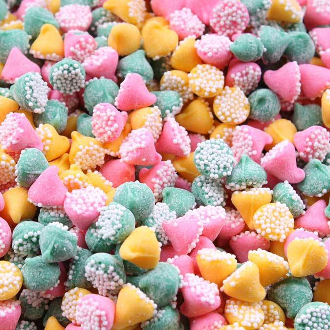 Guittard Chocolate Pee Assorted Mint Nonpareils Pink Green And Yellow 1 Pound Bag Repackaged Single