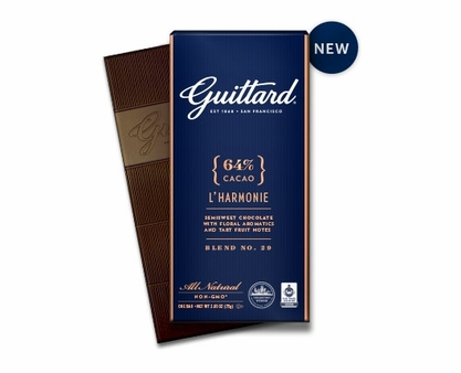 """GUITTARD """"L'HARMONIE"""" 64% COCOA SEMISWEET BAR 2.65OZ (Pack of 5)"""