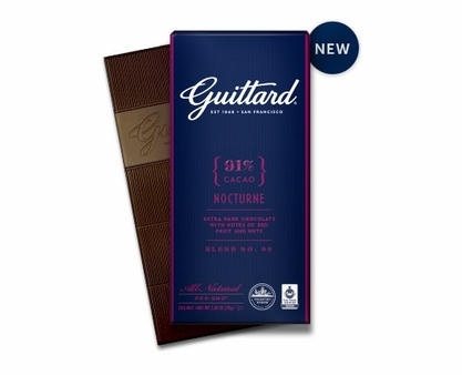 "Guittard ""Nocturne"" 91% Cocoa Extra Dark Chocolate 2.65oz (Pack of 5)"