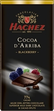 Hachez 77% Cocoa D'Arriba Blackberry with Cocoa Nibs, Superior Mild Dark Chocolate, 100g/3.5oz (Single)
