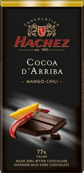 Hachez 77% Cocoa D'Arriba Mango Chili Chocolate, Superior Mild Dark Chocolate, 100g/3.5oz (Single)