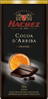 Hachez 77% Cocoa D'Arriba Orange Chocolate, Superior Mild Dark Chocolate, 100g/3.5oz (5 Pack)
