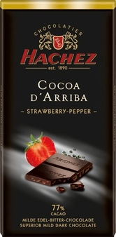 Hachez 77% Cocoa D'Arriba Strawberry Pepper Chocolate, Superior Mild Dark Chocolate, 100g/3.5oz (Single)