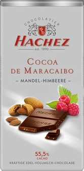 Hachez Milk Chocolate Raspberry Almond Crunch, D'Maracaibo, 55% Cocoa, 100g/3.5oz (5 Pack)