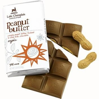 "Lake Champlain Chocolates - ""Organic Peanut Butter"" Creamy Peanut Butter tucked in Silky Milk Chocolate 38% Cocoa, 3.25 oz. (10 Pack)"