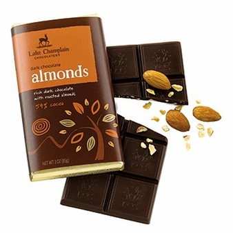 "Lake Champlain Chocolates - ""Almonds"" Bar, Dark Chocolate, 54% cocoa, 3 oz (5 Pack)."