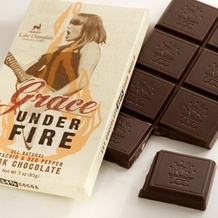 """Lake Champlain Chocolates - """"Grace Under Fire Chocolate Bar"""", Pistachio and Red Pepper Dark Chocolate, 54% Cocoa, 85g/1.25oz."""