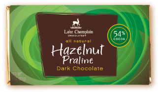 "Lake Champlain Chocolates - ""Hazelnut Praline"" Bar, Dark Chocolate, 54% Cocoa, 3 oz. (12 Pack)"