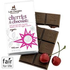 "Lake Champlain Chocolates - ""Organic Cherries & Chocolate"" Fruit-forward dark chocolate studded with tart organic cherries 70% Cocoa, 3 oz/85g (10 Pack)"
