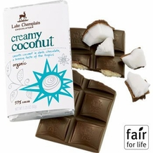 "Lake Champlain Chocolates - ""Organic Creamy Coconut"" Smooth Coconut in Dark Chocolate a Breezy taste of the tropics 57% Cocoa, 3.25oz/ 92g"