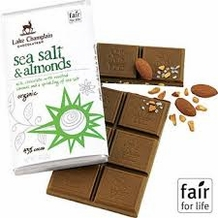 "Lake Champlain Chocolates - ""Organic Sea Salt & Almonds"" Milk Chocolate with Roasted Almonds and a sprinkling of Sea Salt 43% Cocoa 3oz/85g"