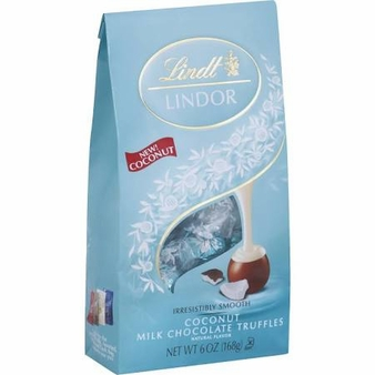 "Lindt Swiss Chocolate - Lindor Truffles ""Coconut Milk Chocolate with a Smooth Filling!"", 12 Piece Bag, 144g/5.1oz. (Single)"