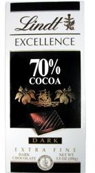 Lindt Chocolate - Excellence 70% Cocoa Dark Chocolate Bar, 100g/3.5oz. (6 Pack)