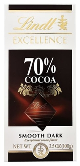Lindt Chocolate - Excellence 70% Cocoa Dark Chocolate Bar, 100g/3.5oz. (Single)