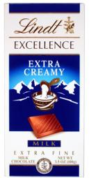 Lindt Chocolate - Excellence Extra Creamy Milk Chocolate Bar, 100g/3.5oz. (6 Pack)